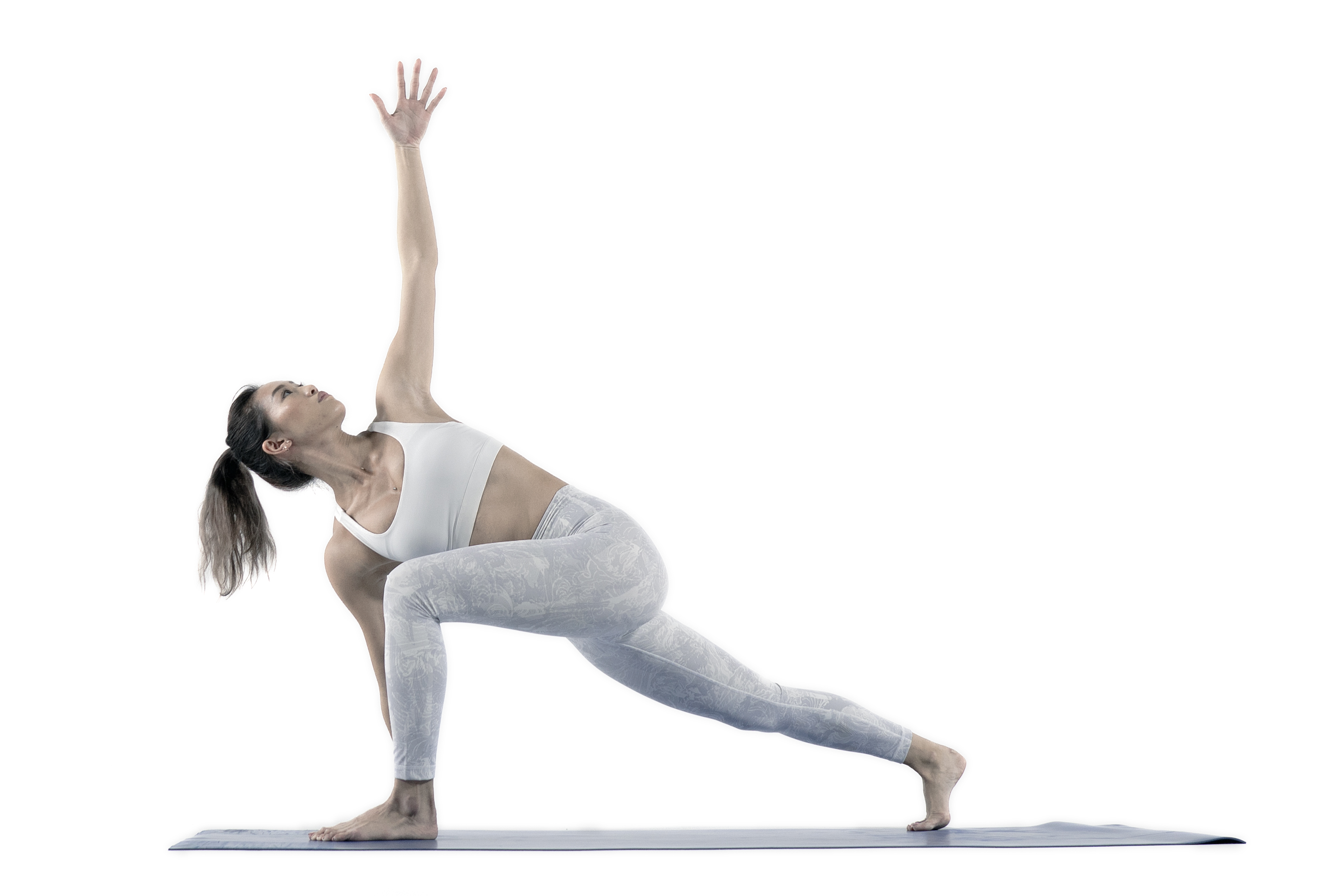 Yoga Nexus model posing runners lunge with side twists