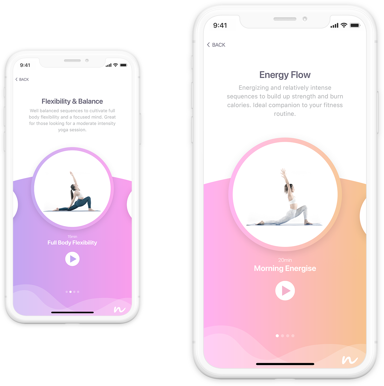 Yoga Nexus app screen shots for energize and flexibility sections