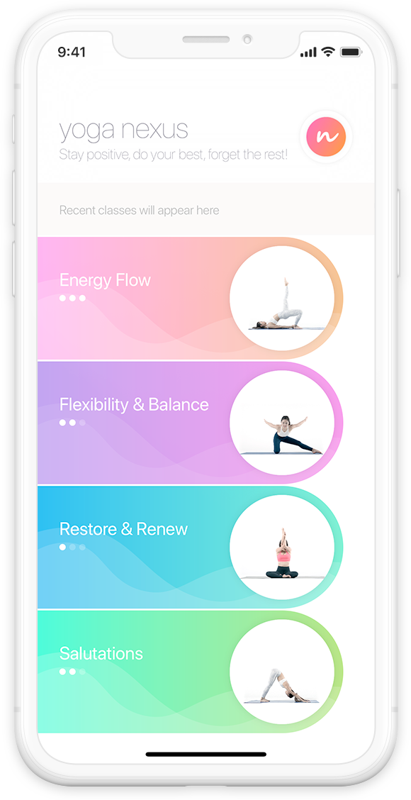 Yoga Nexus app home screen display on iPhone X